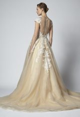 Champagne A-line Embroidered Wedding Dress With Illusion Neckline by Henry Roth - Image 2