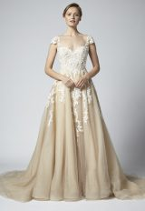Champagne A-line Embroidered Wedding Dress With Illusion Neckline by Henry Roth - Image 1