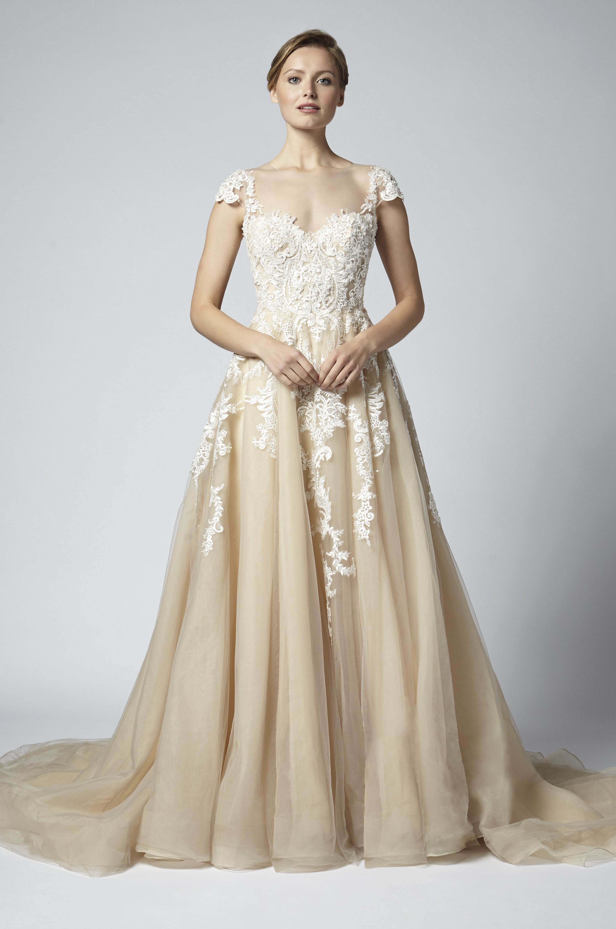 Champagne A-line Embroidered Wedding Dress With Illusion Neckline