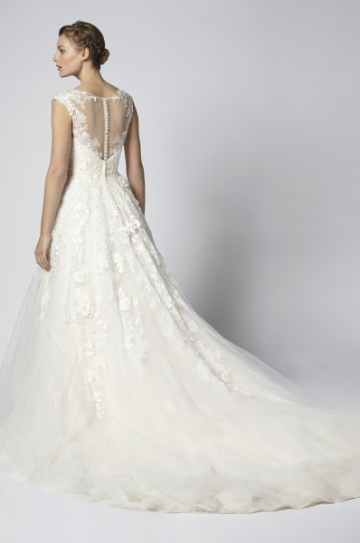 Embroidered Ball Gown Wedding Dress With Tulle Skirt by Henry Roth - Image 2
