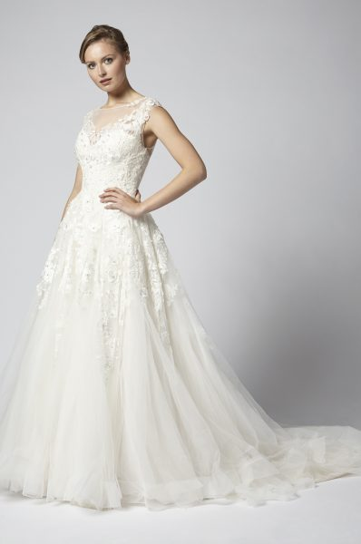 Embroidered Ball Gown Wedding Dress With Tulle Skirt by Henry Roth - Image 1