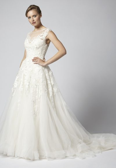 Embroidered Ball Gown Wedding Dress With Tulle Skirt by Henry Roth