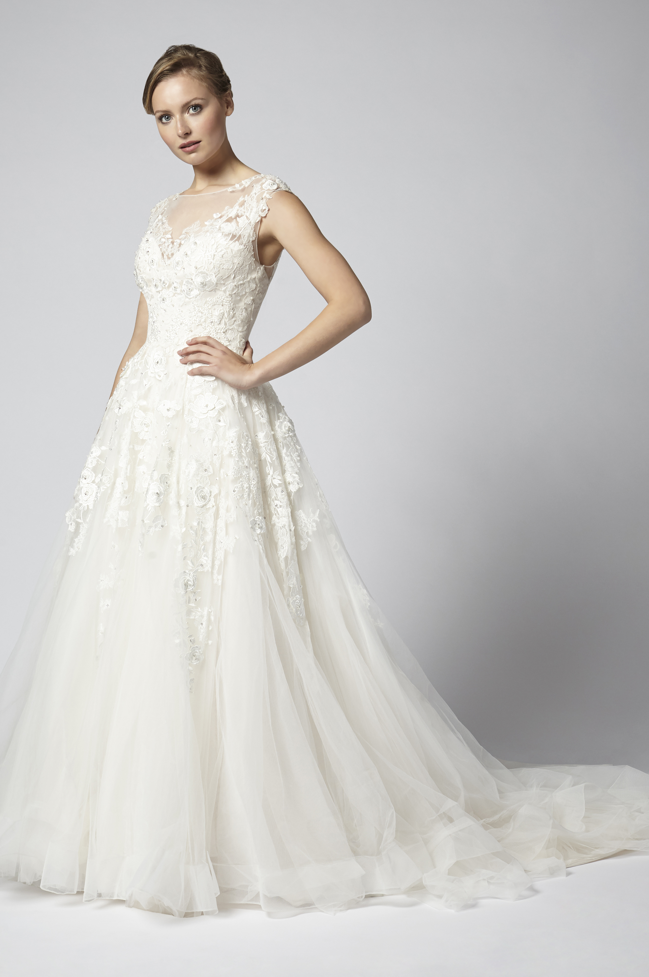 Embroidered Ball Gown Wedding Dress With Tulle Skirt   Kleinfeld Bridal