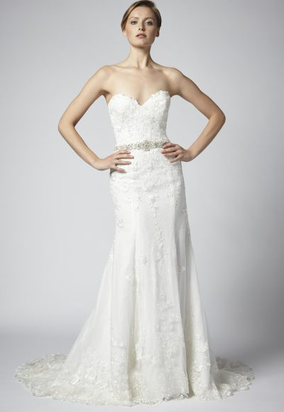 Fit And Flare Lace Strapless Wedding Dress With Beaded Belt by Henry Roth