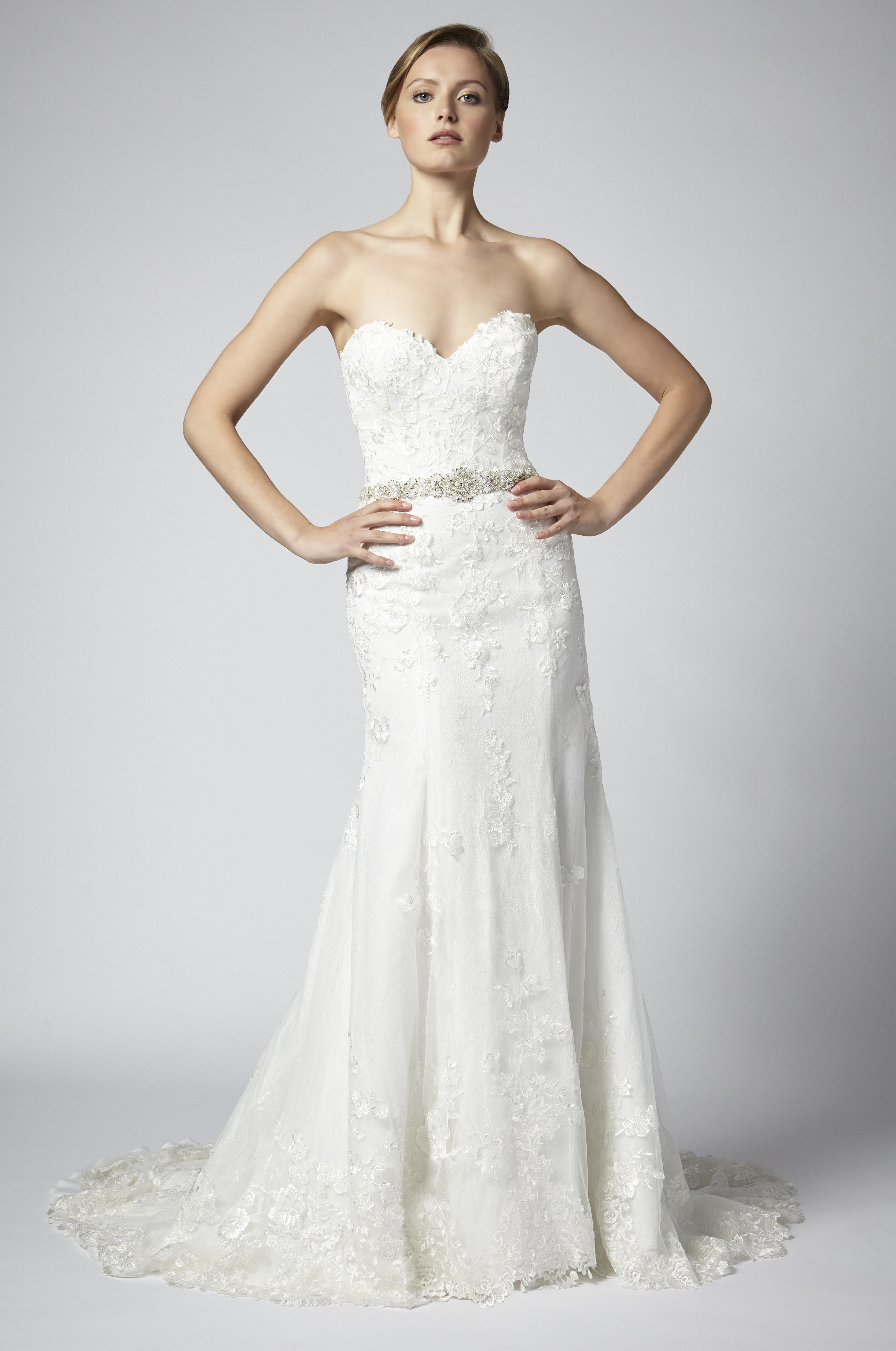 Fit And Flare Lace Strapless Wedding Dress With Beaded Belt ...