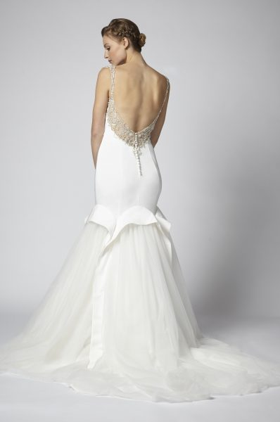 Fit And Flare Wedding Dress With Net Skirt And Beaded Embellishments by Henry Roth - Image 2