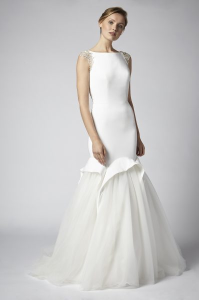 Fit And Flare Wedding Dress With Net Skirt And Beaded Embellishments by Henry Roth - Image 1