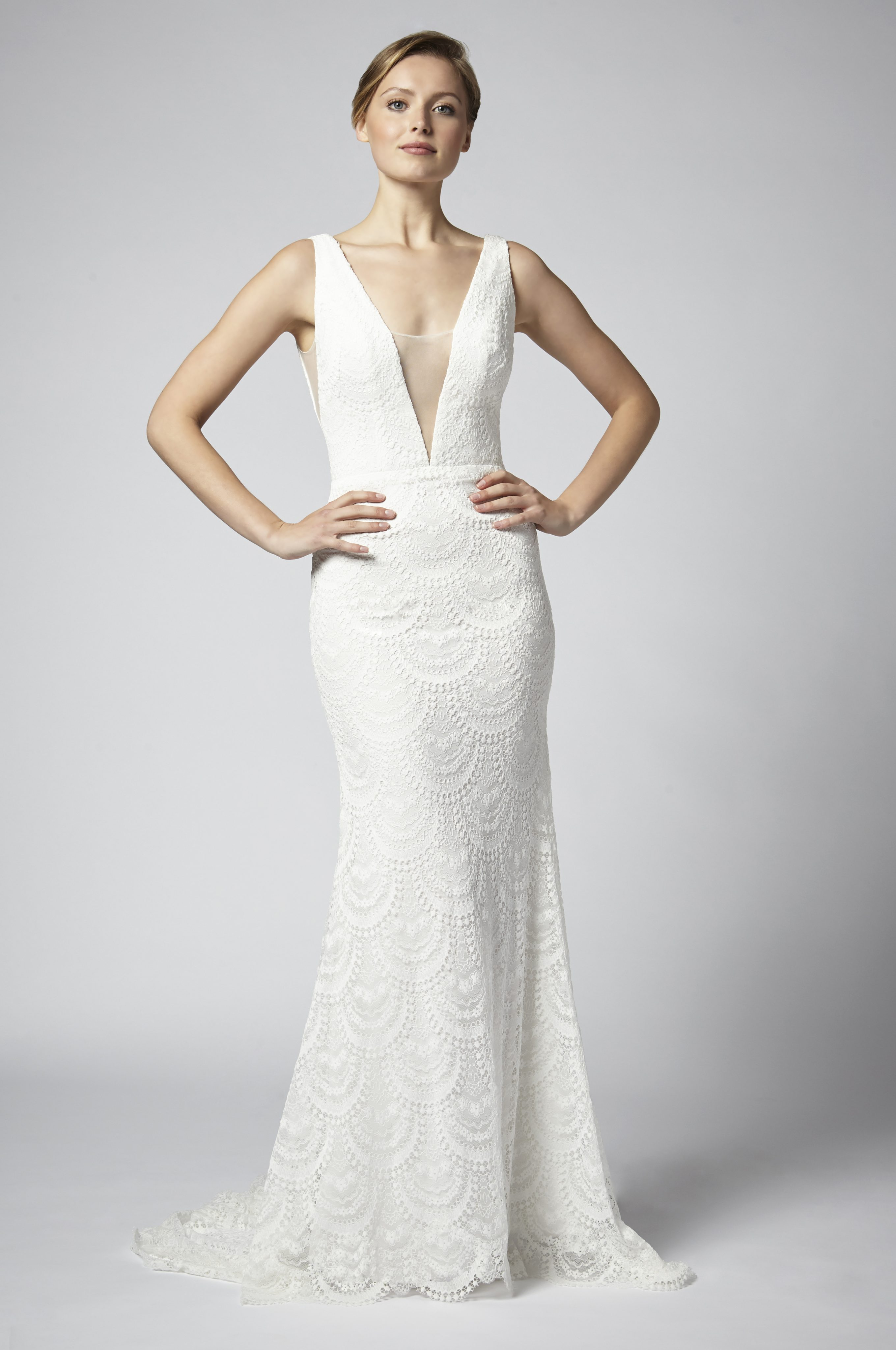 Lace Sheath Wedding Dress With Deep V Neckline And Nude Netting ...