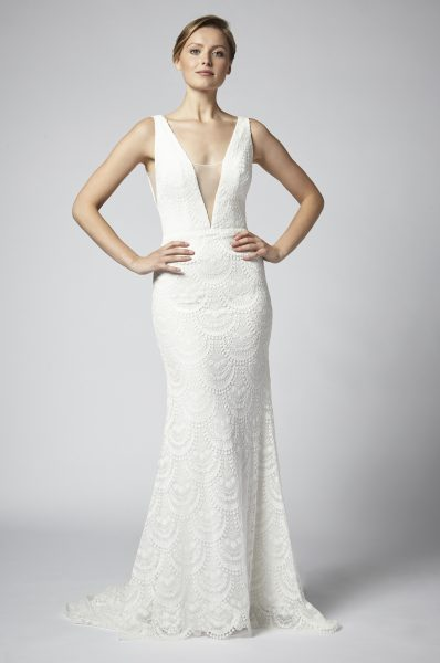 Lace Sheath Wedding Dress With Deep V Neckline And Nude Netting by Henry Roth - Image 1