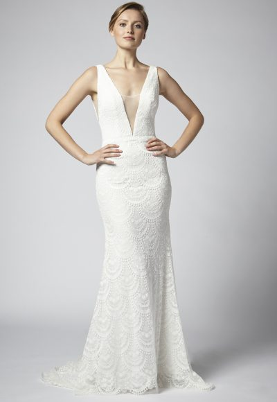 Lace Sheath Wedding Dress With Deep V Neckline And Nude Netting by Henry Roth