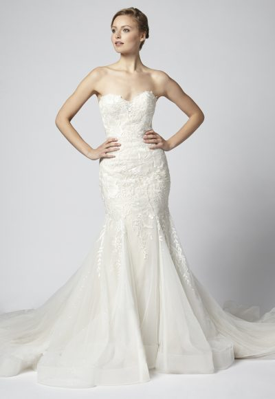 Lace Strapless Fit And Flare With Tulle Skirt by Henry Roth