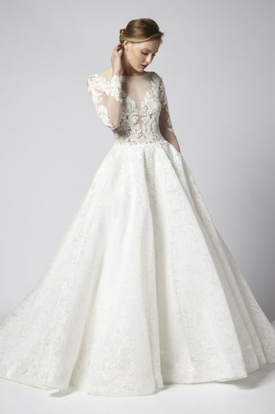 Long Sleeve Beaded Lace Illusion Bodice With Ball Gown Skirt Wedding Dress by Henry Roth - Image 1