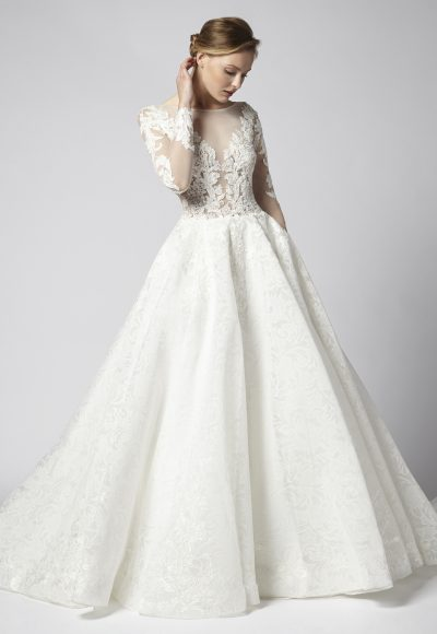 Long Sleeve Beaded Lace Illusion Bodice With Ball Gown Skirt Wedding Dress by Henry Roth