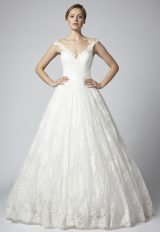 Off The Shoulder Ball Gown Wedding Dress With Lace Skirt by Henry Roth - Image 1