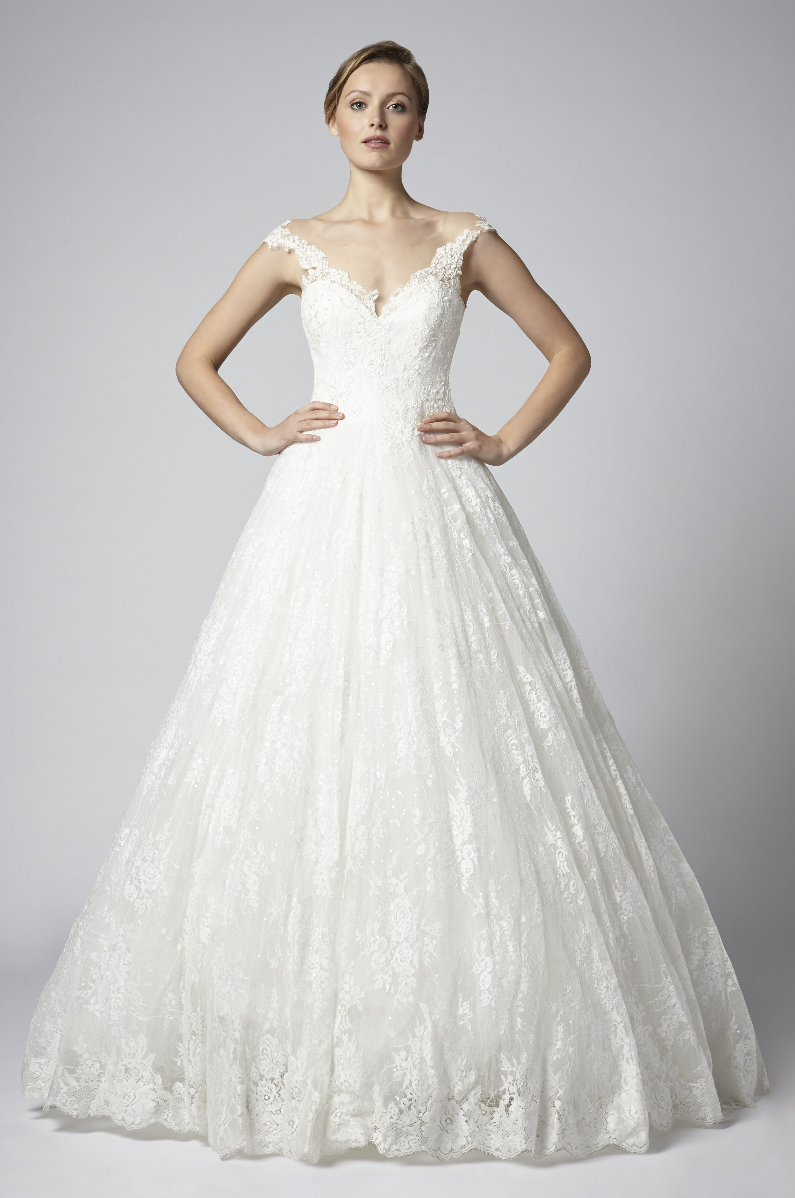 Off The Shoulder Ball Gown Wedding Dress With Lace Skirt | Kleinfeld ...