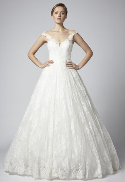 Off The Shoulder Ball Gown Wedding Dress With Lace Skirt by Henry Roth