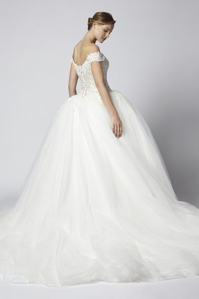 Off The Shoulder Lace Ball Gown With Tulle Skirt by Henry Roth - Image 2