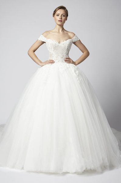 Off The Shoulder Lace Ball Gown With Tulle Skirt by Henry Roth - Image 1