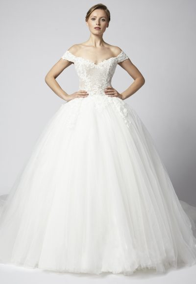 Off The Shoulder Lace Ball Gown With Tulle Skirt by Henry Roth