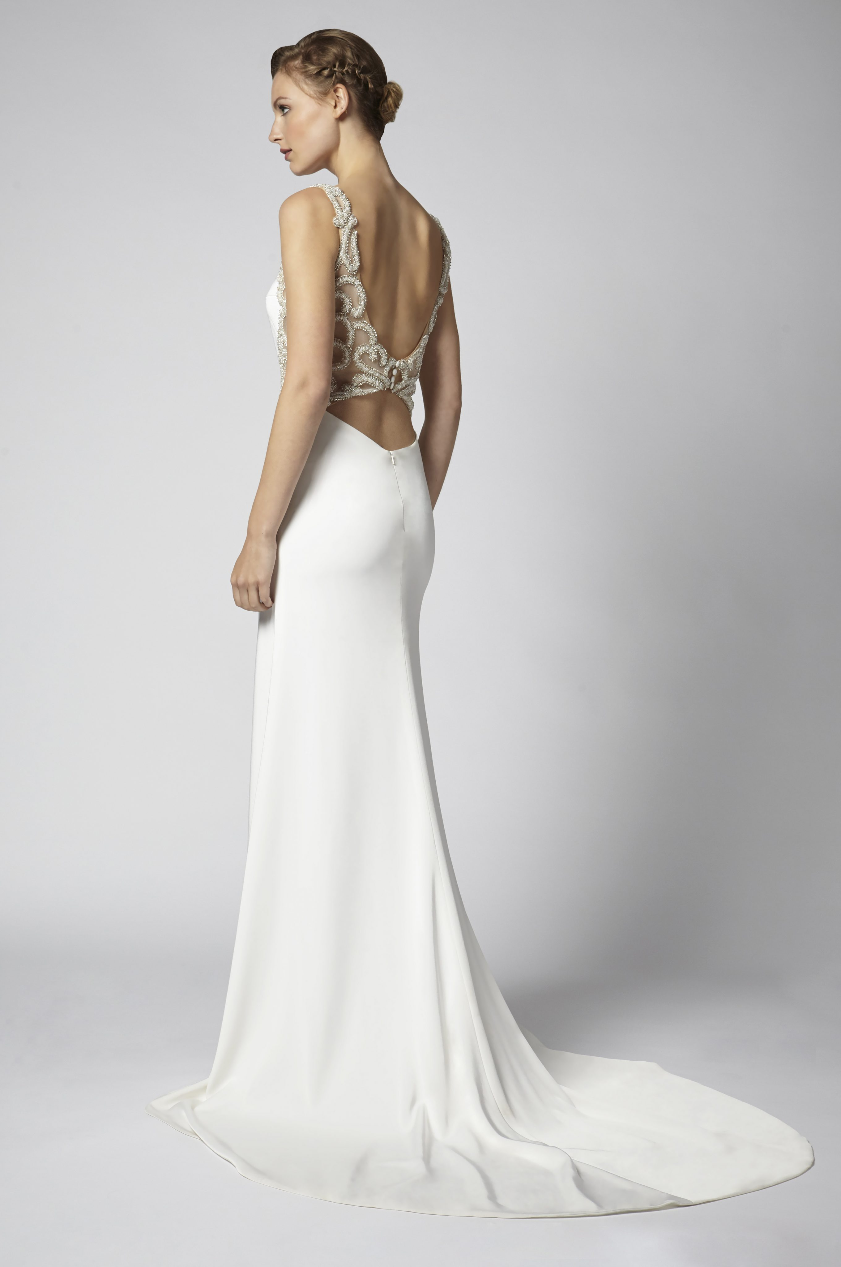 eaba57fa0fe Sheath Wedding Dress With Open Back And Beaded Embellishments ...