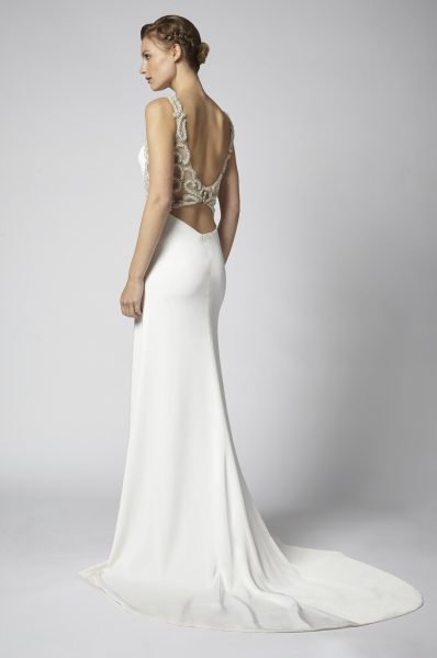 Sheath Wedding Dress With Open Back And Beaded Embellishments by Henry Roth - Image 2