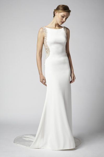 Sheath Wedding Dress With Open Back And Beaded Embellishments by Henry Roth - Image 1
