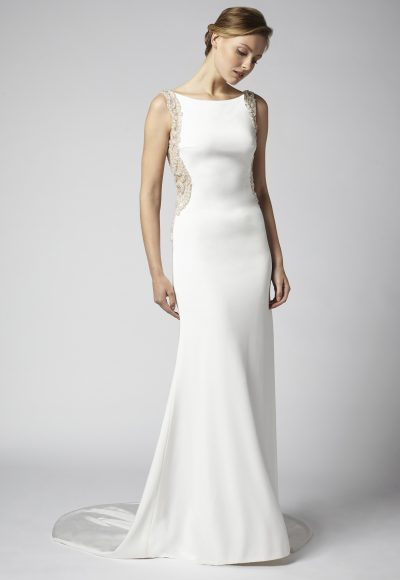 Sheath Wedding Dress With Open Back And Beaded Embellishments by Henry Roth