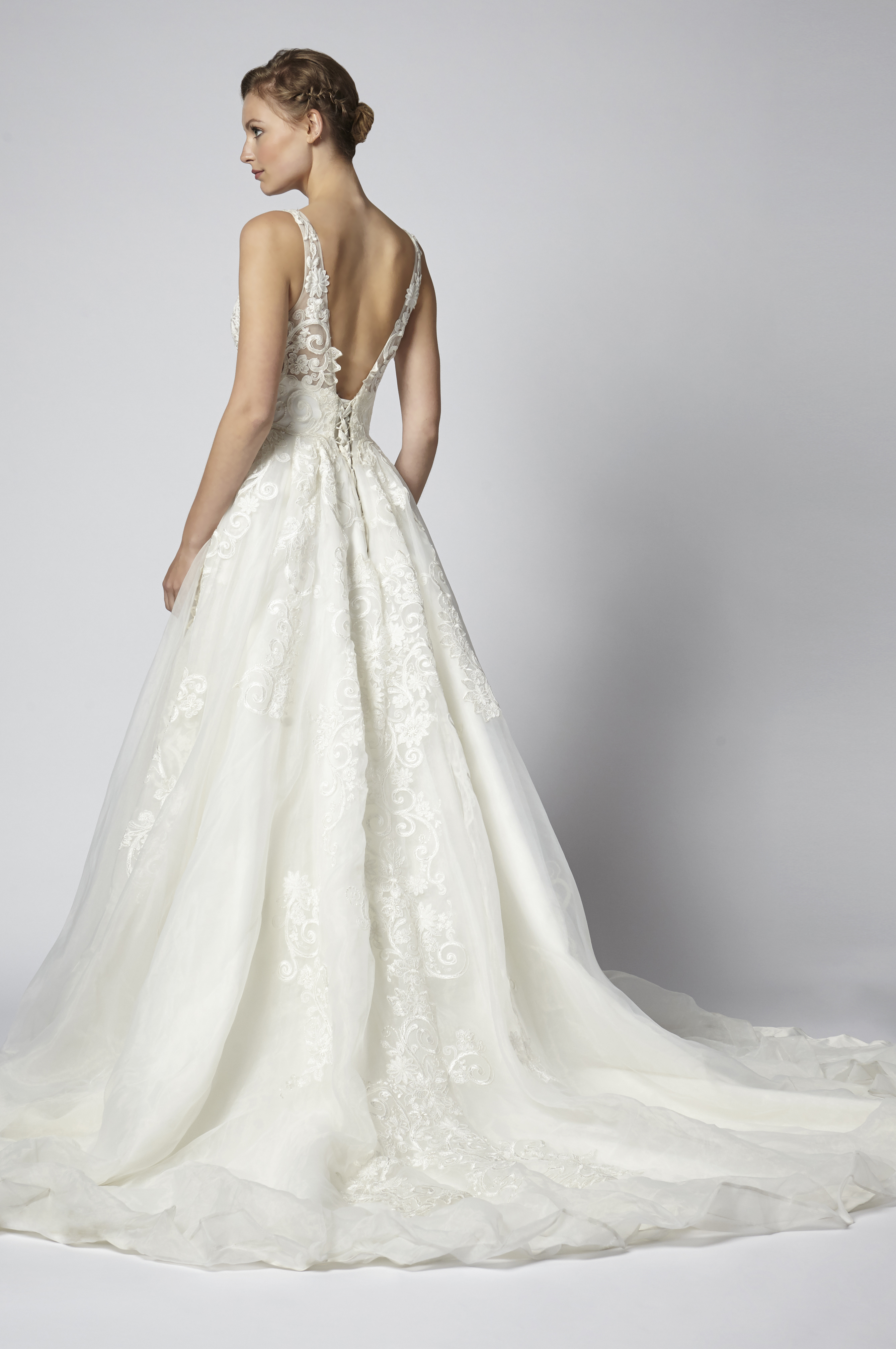 Sleeveless Lace V-neck Ball Gown Wedding Dress With Corset Bodice ...