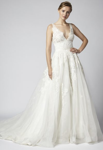 Sleeveless Lace V-neck Ball Gown Wedding Dress With Corset Bodice by Henry Roth