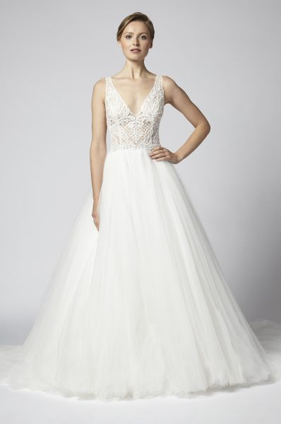 Sleeveless V Neck Beaded Bodice With Tulle Ball Gown Skirt Wedding Dress By Henry Roth