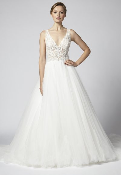 Sleeveless V-neck Beaded Bodice With Tulle Ball Gown Skirt Wedding Dress by Henry Roth