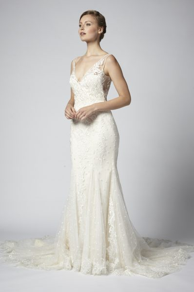 Sleeveless V-neck Lace Fit And Flare Wedding Dress by Henry Roth - Image 1