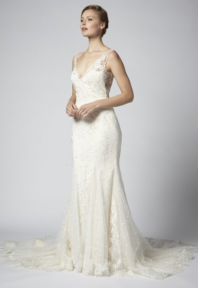 Sleeveless V-neck Lace Fit And Flare Wedding Dress by Henry Roth