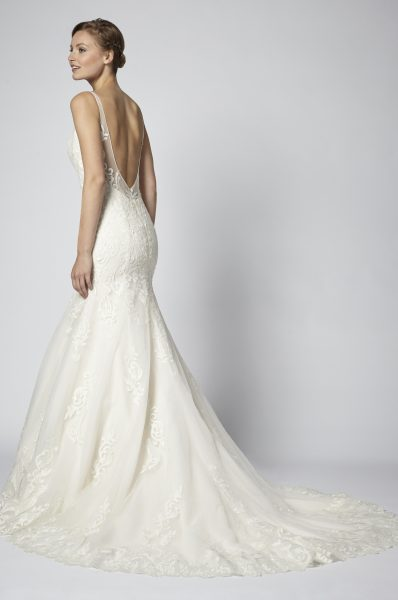 Spaghetti Strap Lace Embellished Fit And Flare Wedding Dress by Henry Roth - Image 2