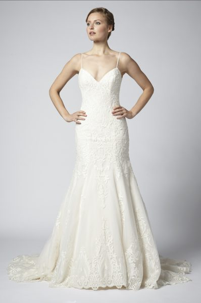 Spaghetti Strap Lace Embellished Fit And Flare Wedding Dress by Henry Roth - Image 1