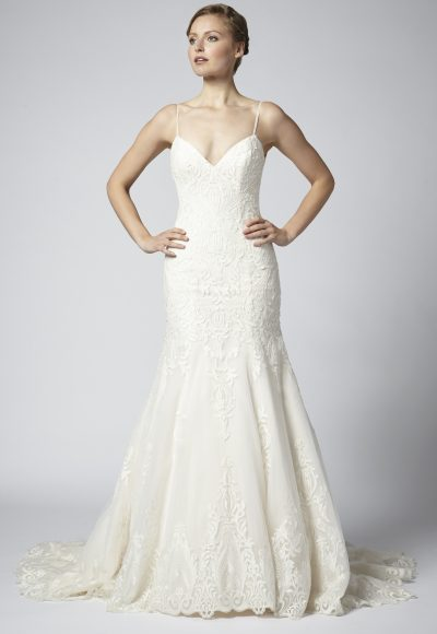 Spaghetti Strap Lace Embellished Fit And Flare Wedding Dress by Henry Roth