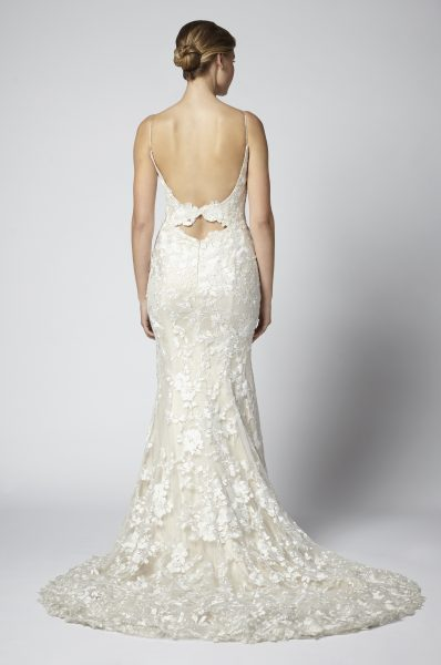 Spaghetti Strap Lace Embroidered Sheath Wedding Dress by Henry Roth - Image 2