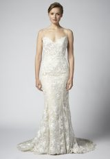 Spaghetti Strap Lace Embroidered Sheath Wedding Dress by Henry Roth - Image 1