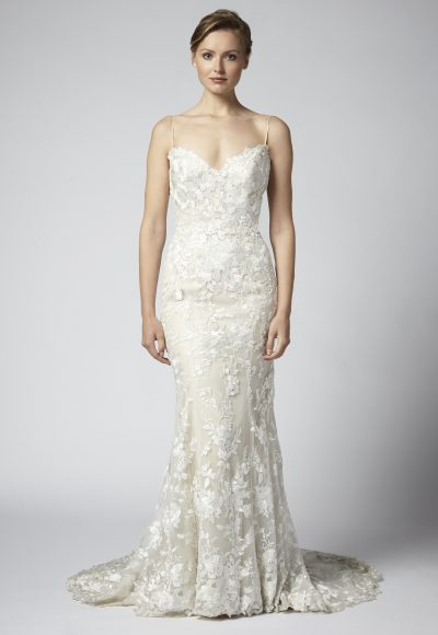 Spaghetti Strap Lace Embroidered Sheath Wedding Dress by Henry Roth
