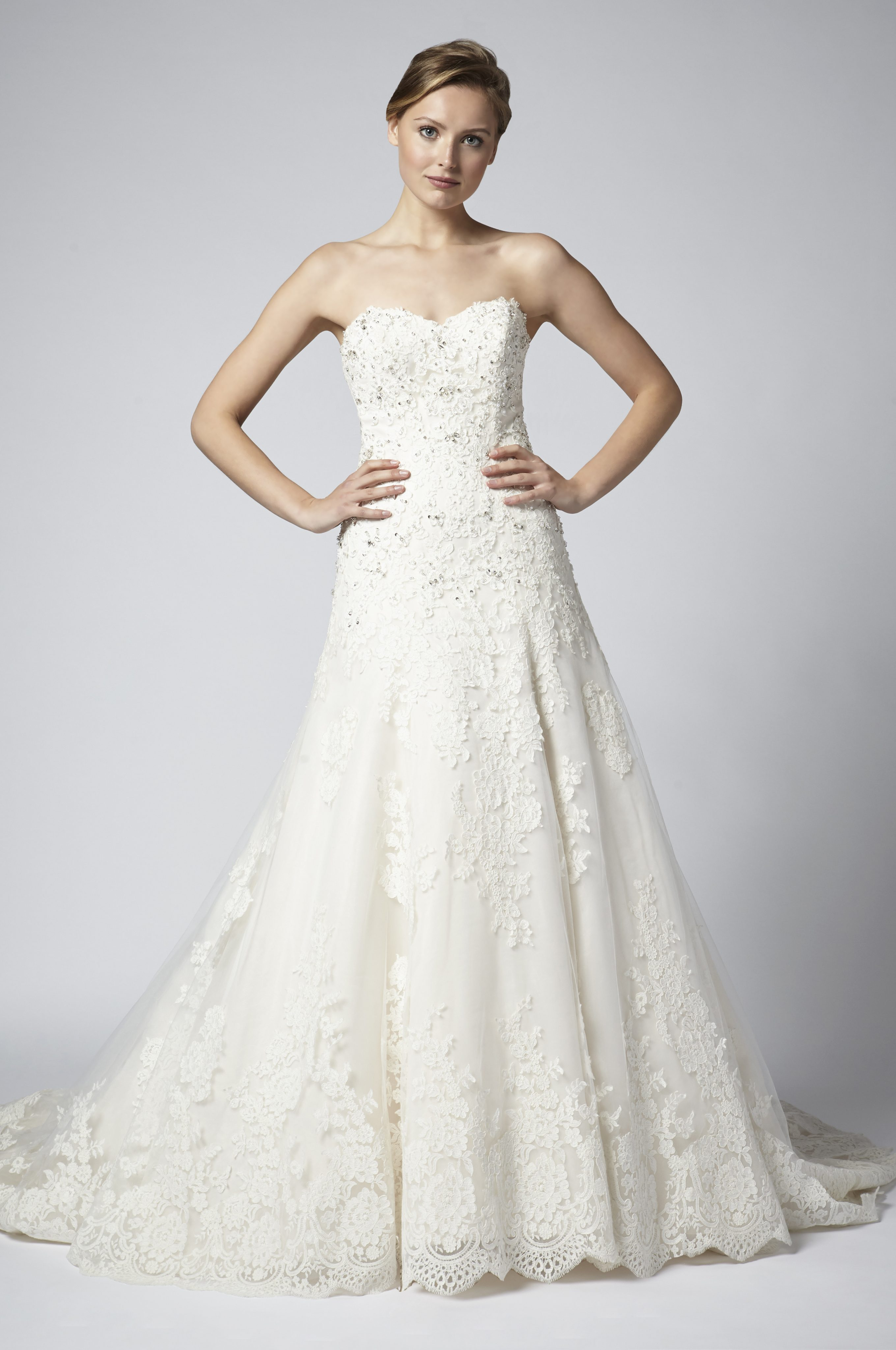 Strapless lace beaded a line wedding dress kleinfeld bridal junglespirit Image collections