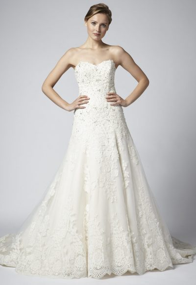 Strapless Lace Beaded A-line Wedding Dress by Henry Roth