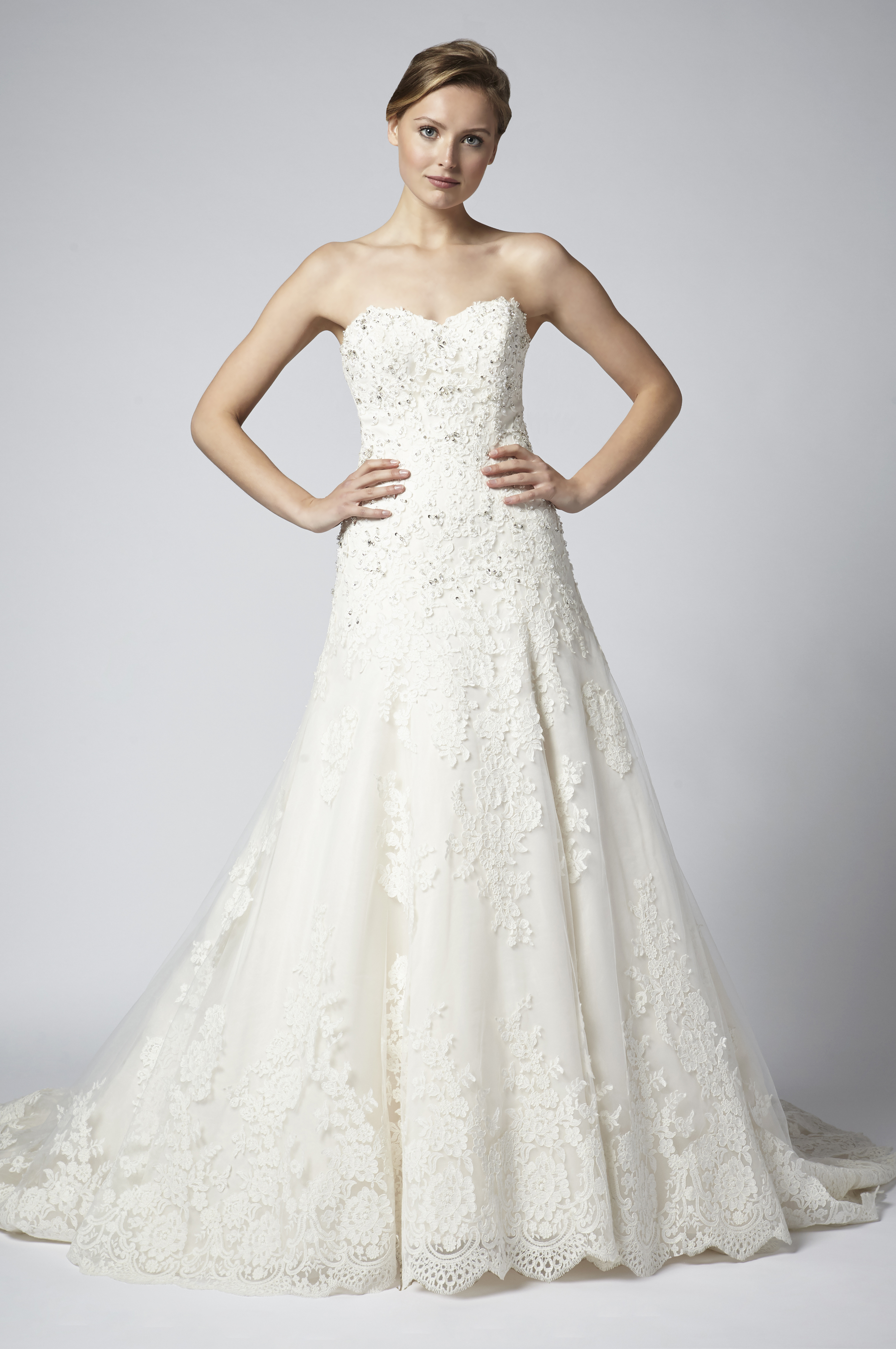 Strapless Lace Beaded A Line Wedding Dress Kleinfeld Bridal