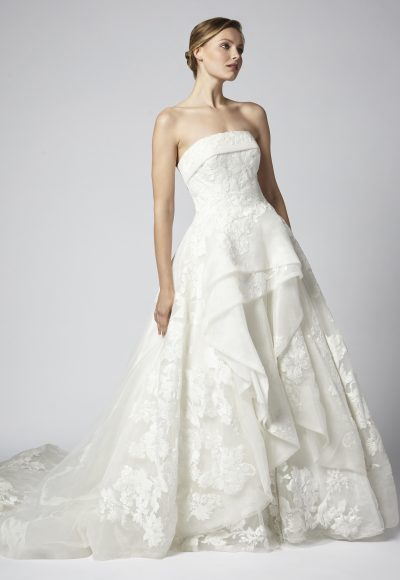 Strapless Tulle And Beaded Ball Gown Tiered Wedding Dress by Henry Roth