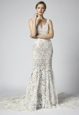 V-neck Sleeveless Fit And Flare Lace Wedding Dress by Henry Roth - Image 1