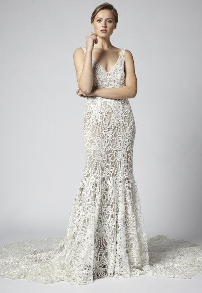 V-neck Sleeveless Fit And Flare Lace Wedding Dress by Henry Roth