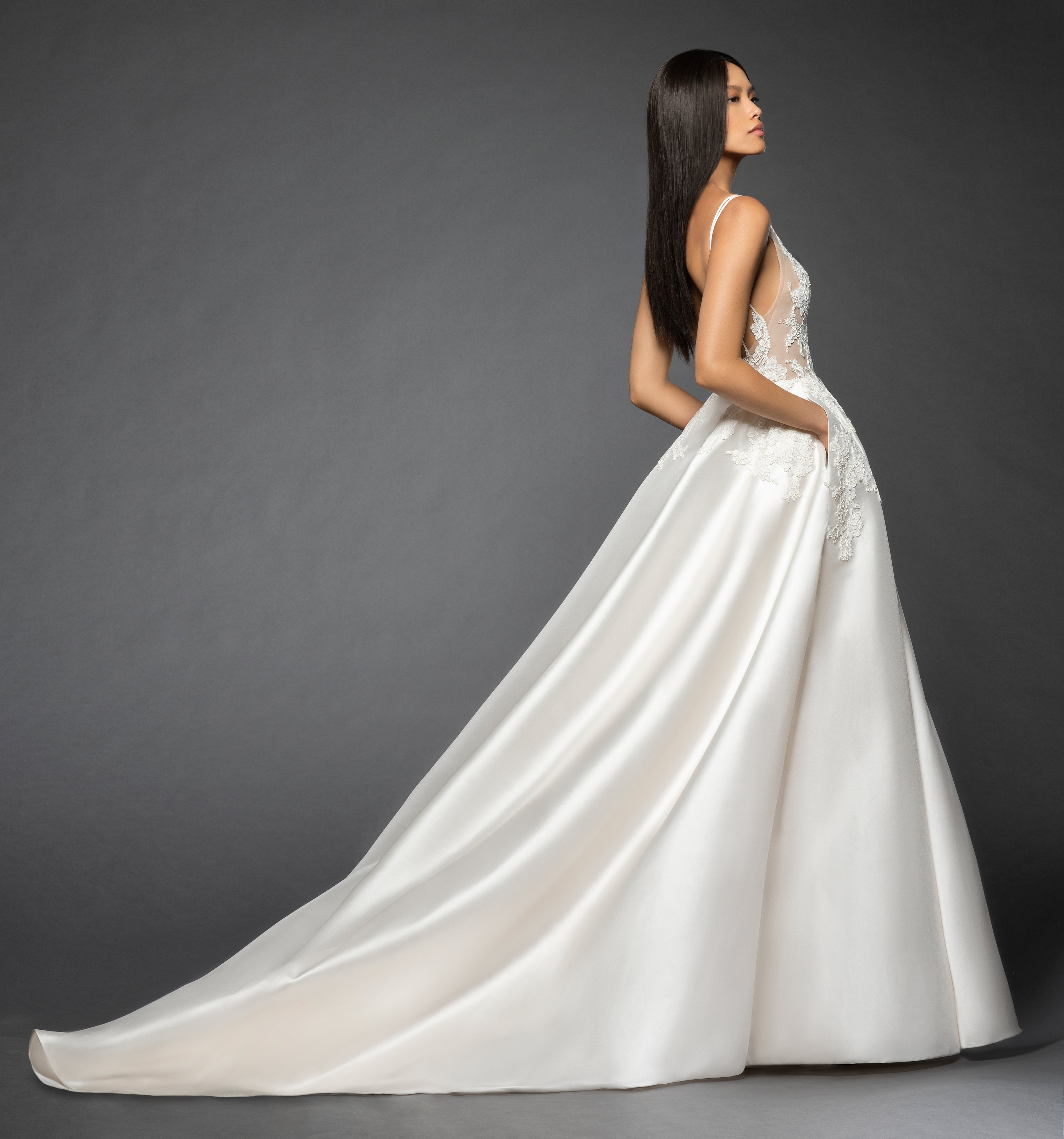 Wedding Gown Stores Nyc: Sleeveless Illusion Lace Bodice Bodice Silk Skirt A-line
