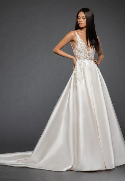 Sleeveless Illusion Lace Bodice Bodice Silk Skirt A-line Wedding Dress by Lazaro
