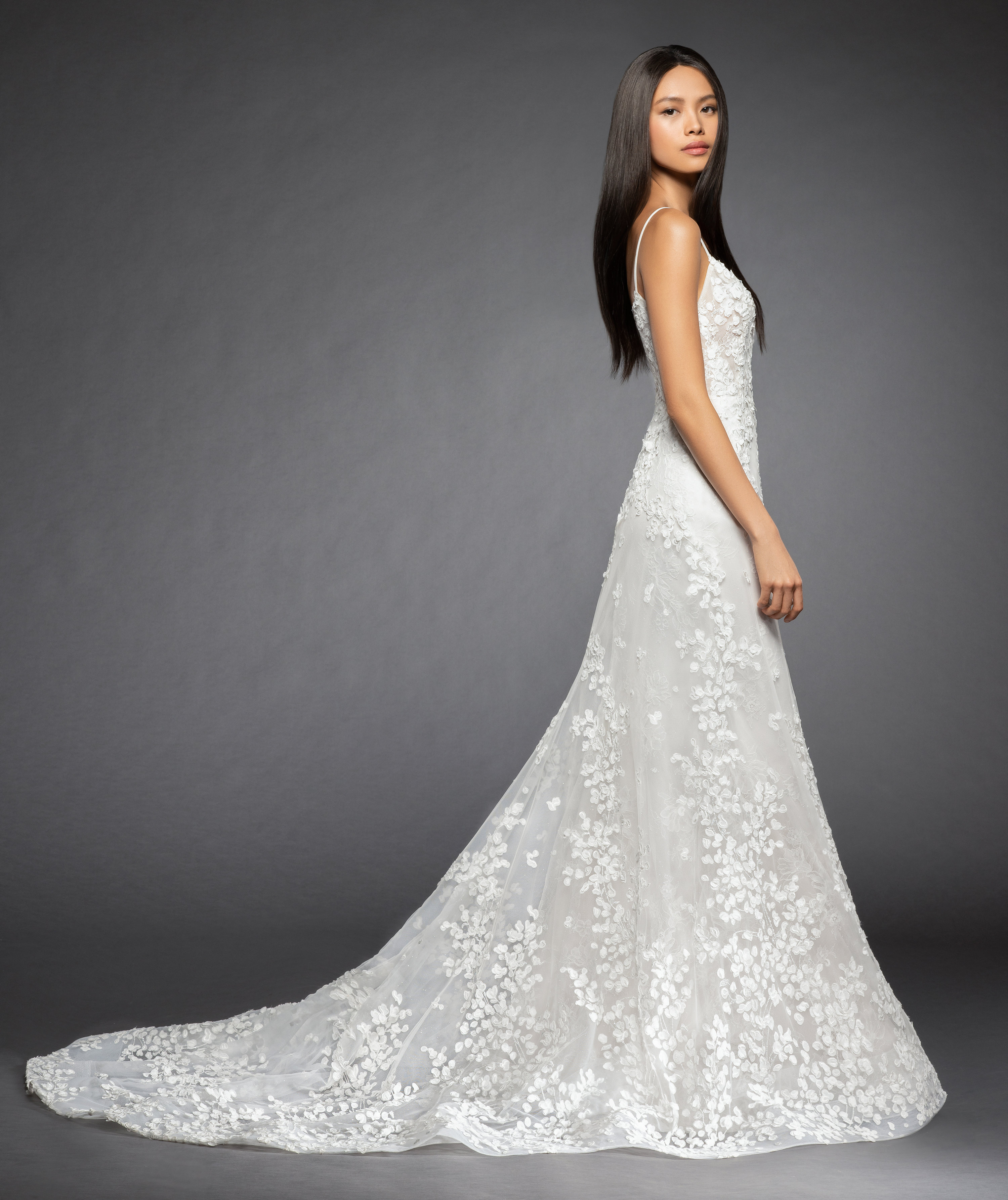 Spaghetti Strap Floral Applique A-line Wedding Dress