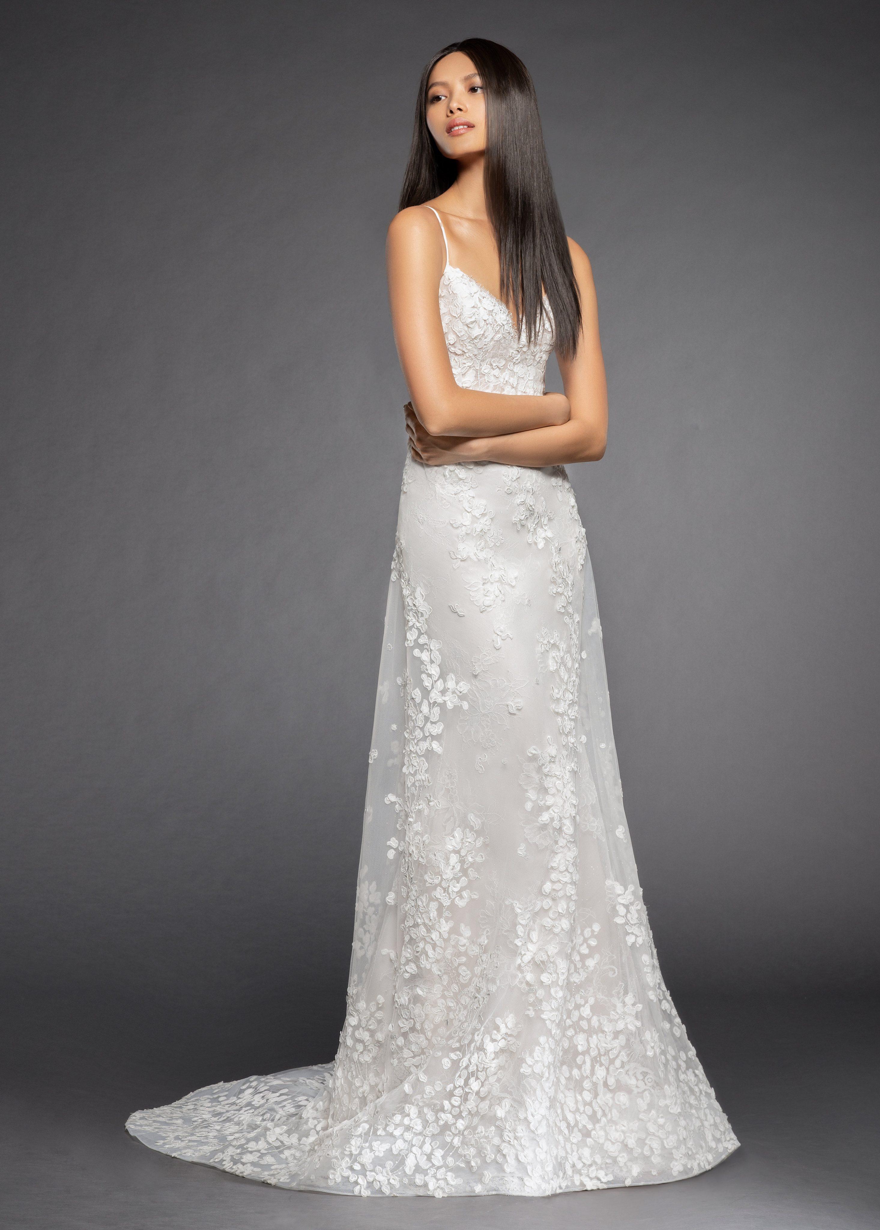 Spaghetti Strap Floral Applique A Line Wedding Dress
