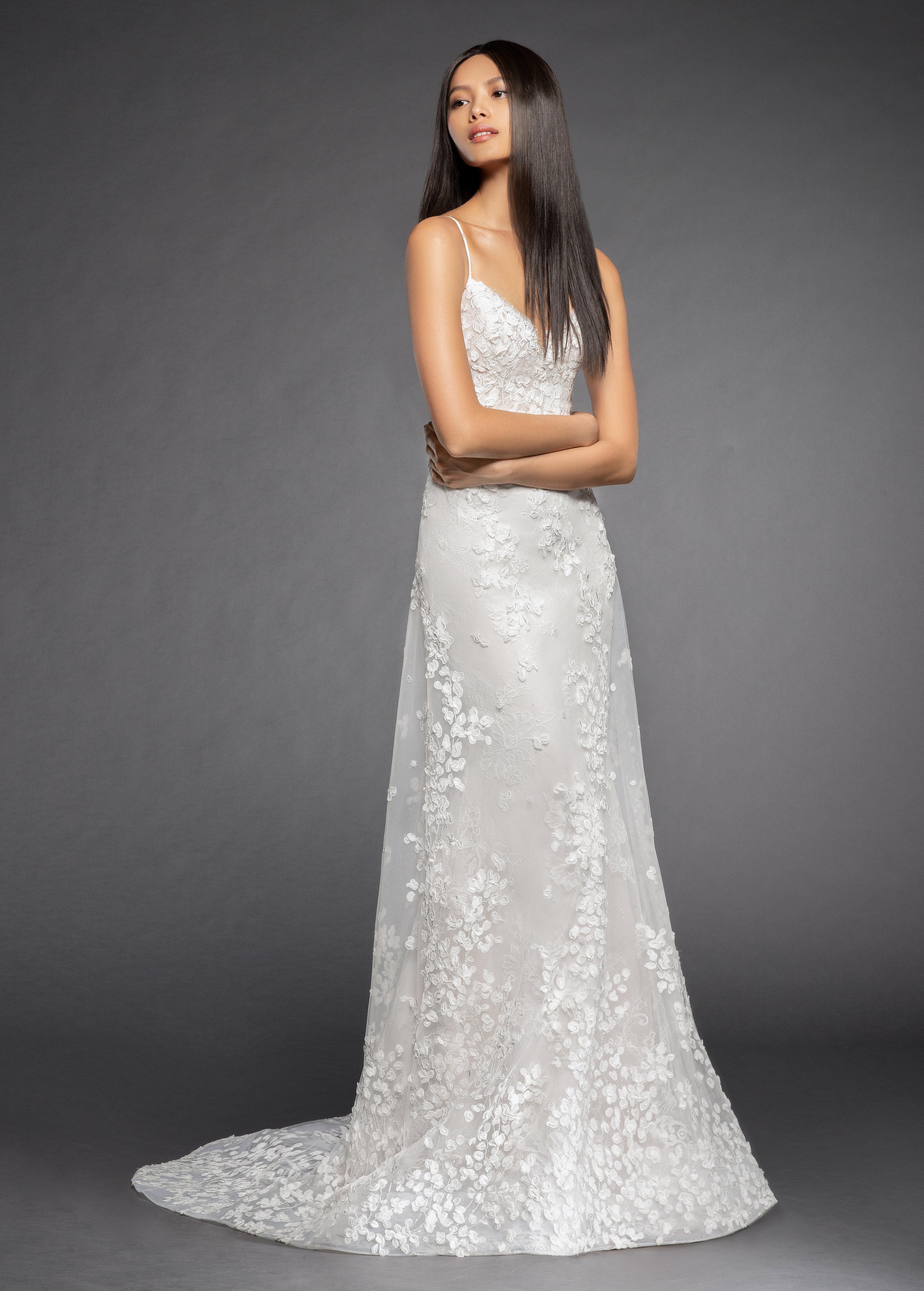 06348f11552 Spaghetti Strap Floral Applique A-line Wedding Dress